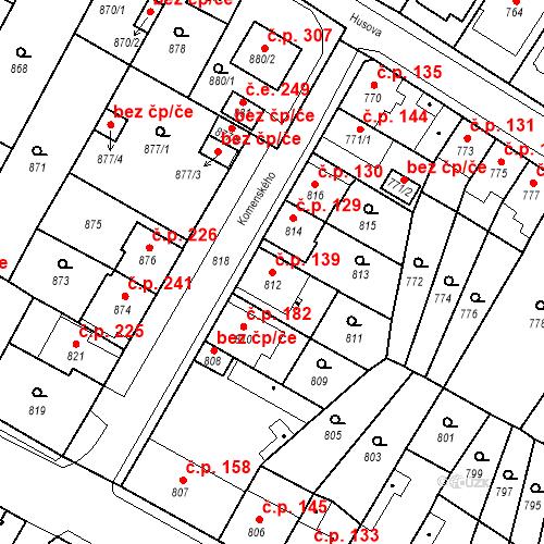 Katastrální mapa Stavební objekt Bystřany 139, Bystřany