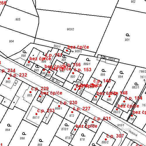 Katastrální mapa Stavební objekt Bystřany 153, Bystřany