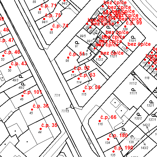 Katastrální mapa Stavební objekt Bystřany 53, Bystřany