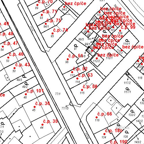 Katastrální mapa Stavební objekt Bystřany 52, Bystřany