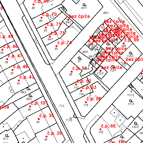 Katastrální mapa Stavební objekt Bystřany 51, Bystřany