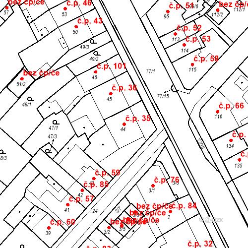 Katastrální mapa Stavební objekt Bystřany 35, Bystřany