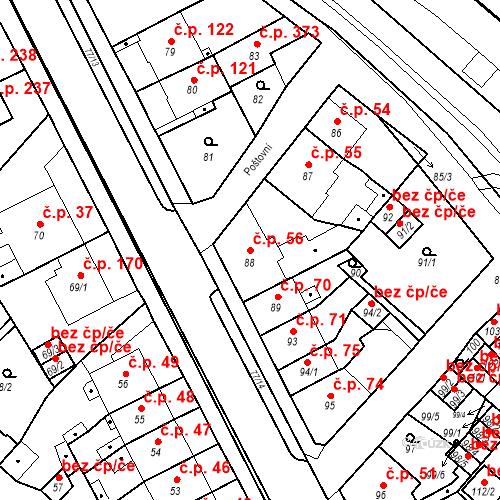 Katastrální mapa Stavební objekt Bystřany 56, Bystřany