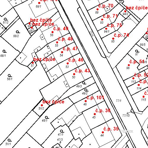 Katastrální mapa Stavební objekt Bystřany 43, Bystřany
