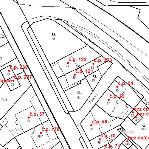 Katastrální mapa Stavební objekt Bystřany 121, Bystřany
