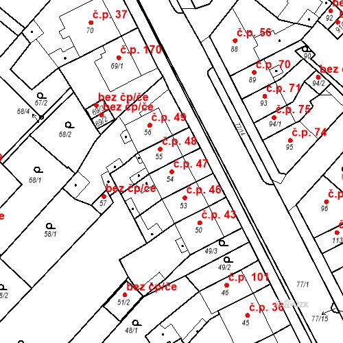 Katastrální mapa Stavební objekt Bystřany 47, Bystřany