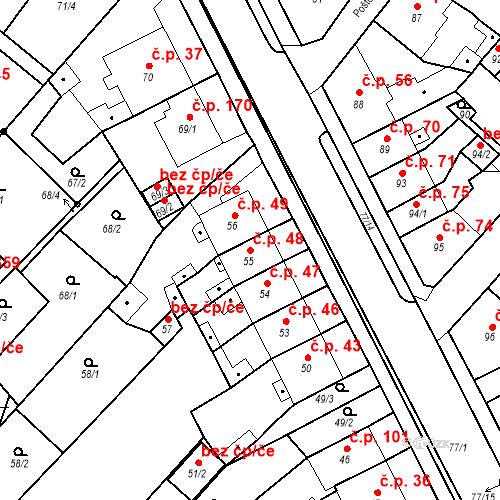 Katastrální mapa Stavební objekt Bystřany 48, Bystřany
