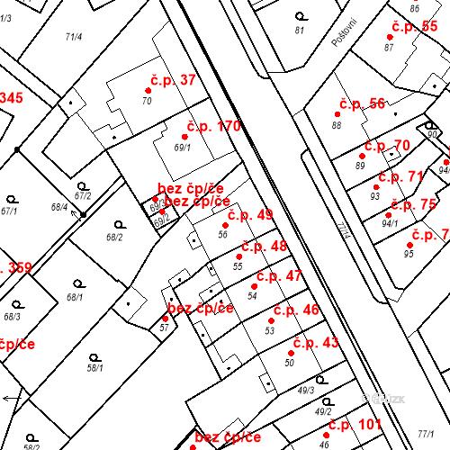 Katastrální mapa Stavební objekt Bystřany 49, Bystřany