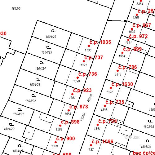 Katastrální mapa Stavební objekt Budějovické Předměstí 736, Písek