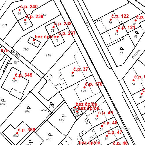 Katastrální mapa Stavební objekt Bystřany 37, Bystřany