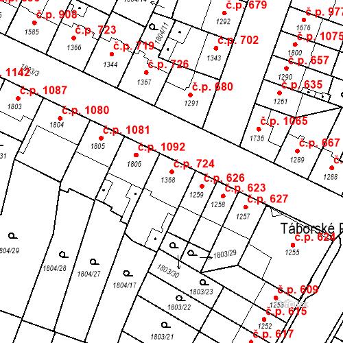 Katastrální mapa Stavební objekt Budějovické Předměstí 724, Písek