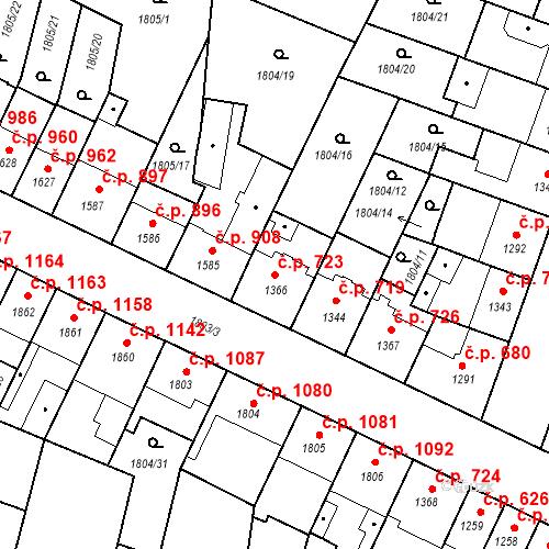 Katastrální mapa Stavební objekt Budějovické Předměstí 723, Písek