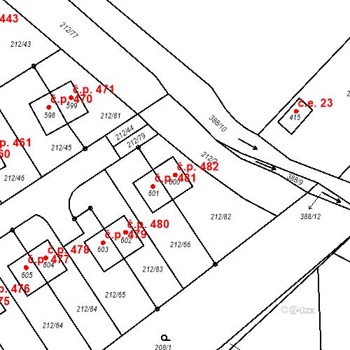 Katastrální mapa Stavební objekt Počaply 482, Králův Dvůr
