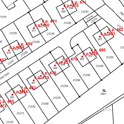 Katastrální mapa Stavební objekt Počaply 478, Králův Dvůr