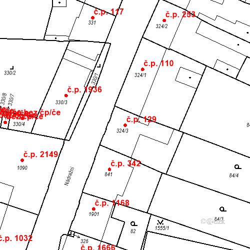 Katastrální mapa Stavební objekt Budějovické Předměstí 129, Písek