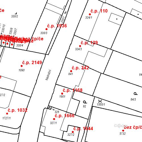 Katastrální mapa Stavební objekt Budějovické Předměstí 342, Písek