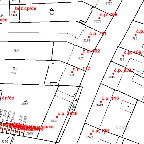 Katastrální mapa Stavební objekt Budějovické Předměstí 117, Písek