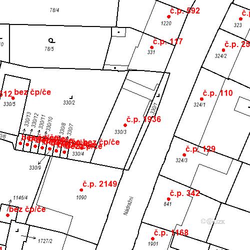 Katastrální mapa Stavební objekt Budějovické Předměstí 1936, Písek