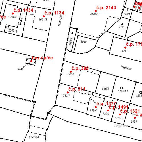 Katastrální mapa Stavební objekt Budějovické Předměstí 388, Písek