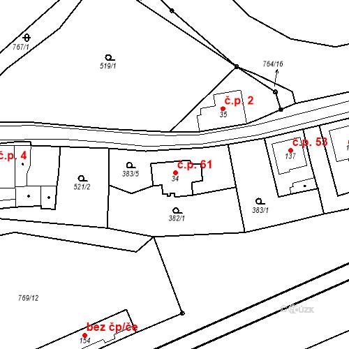 Katastrální mapa Stavební objekt Lbín 61, Bžany