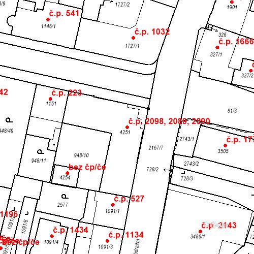 Katastrální mapa Stavební objekt Budějovické Předměstí 2089, 2090, 2098, Písek
