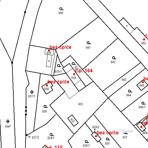 Katastrální mapa Stavební objekt Bystřany 164, Bystřany