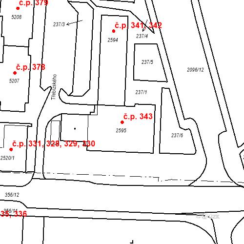 Katastrální mapa Stavební objekt Pražské Předměstí 343, Písek