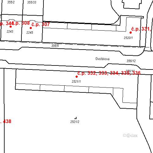 Katastrální mapa Stavební objekt Pražské Předměstí 332, 333, 334, 335, 336, Písek