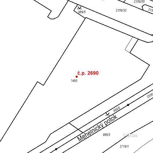 Katastrální mapa Stavební objekt Budějovické Předměstí 2690, Písek