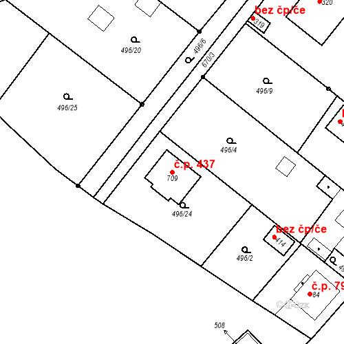 Katastrální mapa Stavební objekt Hradiště 437, Písek