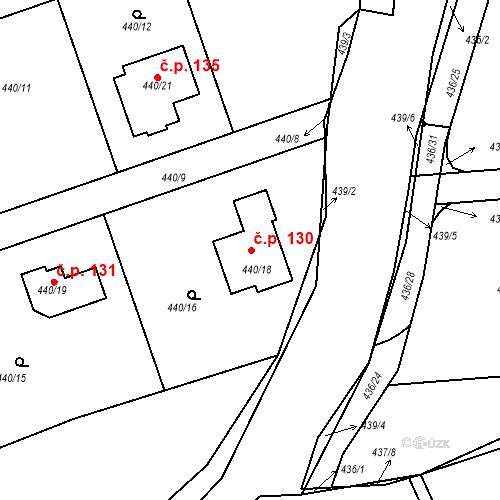 Katastrální mapa Stavební objekt Dubno 130, Dubno