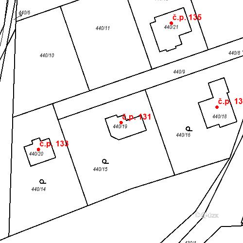 Katastrální mapa Stavební objekt Dubno 131, Dubno