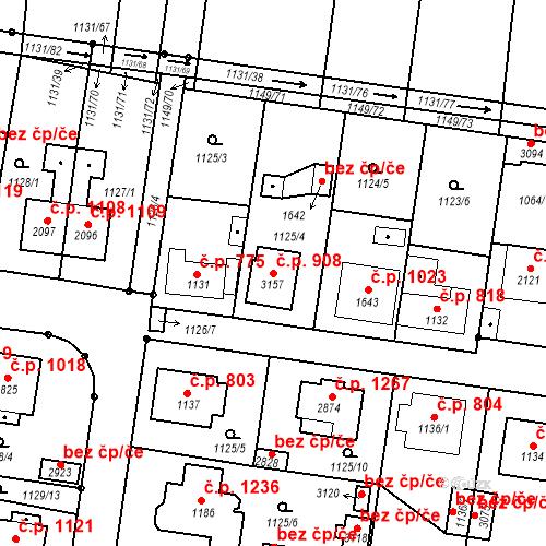 Katastrální mapa Stavební objekt Vodňany II 908, Vodňany