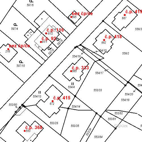 Katastrální mapa Stavební objekt Hradiště 333, Písek