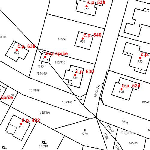 Katastrální mapa Stavební objekt Lány 530, Lány