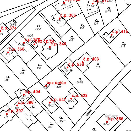 Katastrální mapa Stavební objekt Novosedlice 530, Novosedlice