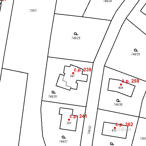 Katastrální mapa Stavební objekt Chodouň 239, Chodouň