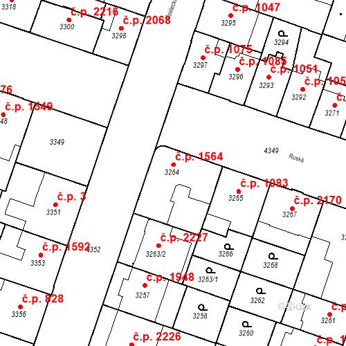 Katastrální mapa Stavební objekt Teplice 1564, Teplice