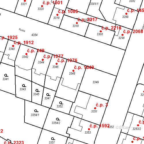 Katastrální mapa Stavební objekt Teplice 1549, Teplice