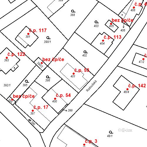 Katastrální mapa Stavební objekt Lhotka 53, Lhotka