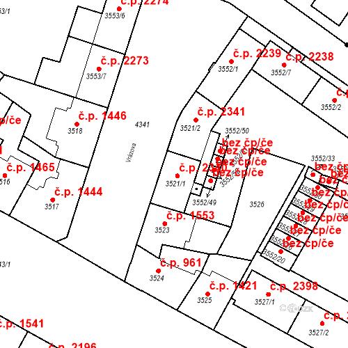 Katastrální mapa Stavební objekt Teplice 2340, Teplice
