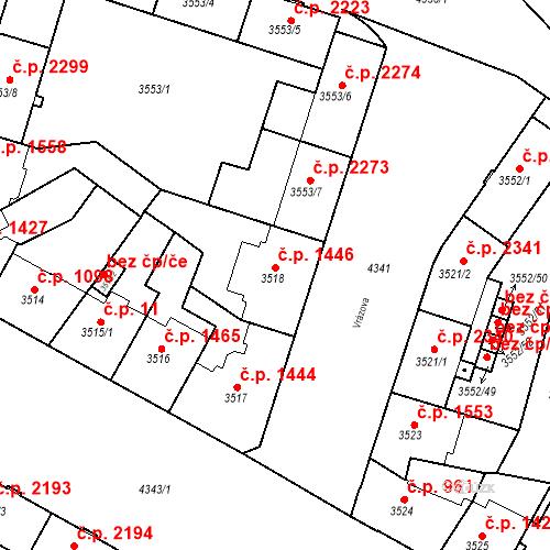 Katastrální mapa Stavební objekt Teplice 1446, Teplice
