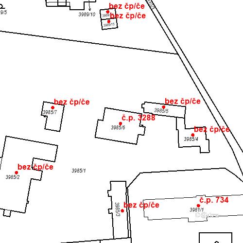 Katastrální mapa Stavební objekt Teplice 3288, Teplice