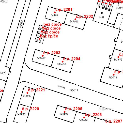 Katastrální mapa Stavební objekt Teplice 2204, Teplice