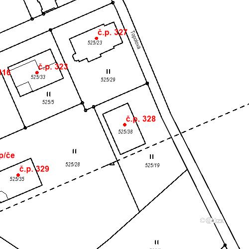 Katastrální mapa Stavební objekt Pozorka 328, Dubí