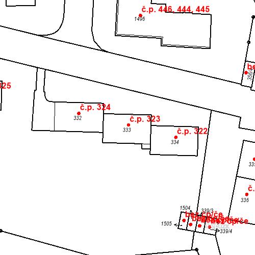 Katastrální mapa Stavební objekt Řetenice 323, Teplice