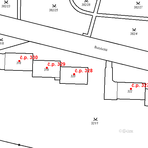 Katastrální mapa Stavební objekt Řetenice 328, Teplice