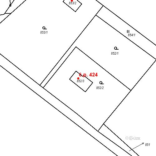 Katastrální mapa Stavební objekt Jince 424, Jince