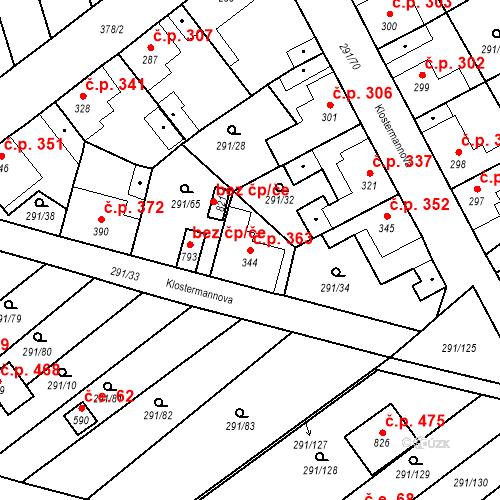 Katastrální mapa Stavební objekt Černčice 363, Černčice