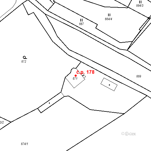 Katastrální mapa Stavební objekt Pražské Předměstí 178, Bílina